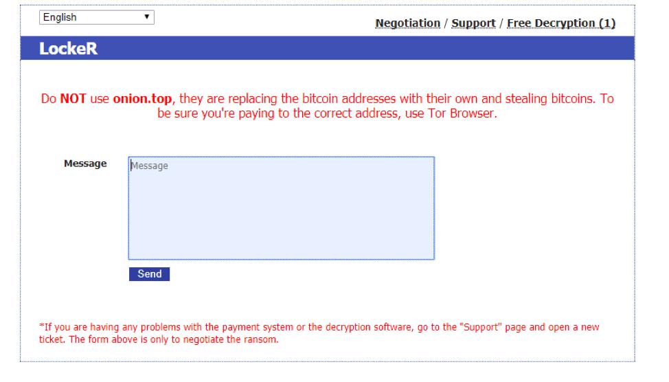 Locker avisando de que no se use el proxy de Tor onion.top para realizar los pagos de los rescates de su ransomware