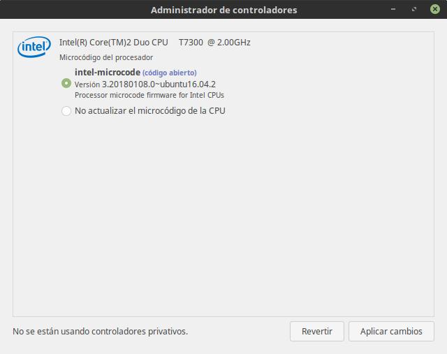 Microcódigo de Intel disponible desde los controladores adicionales de Ubuntu 16.04
