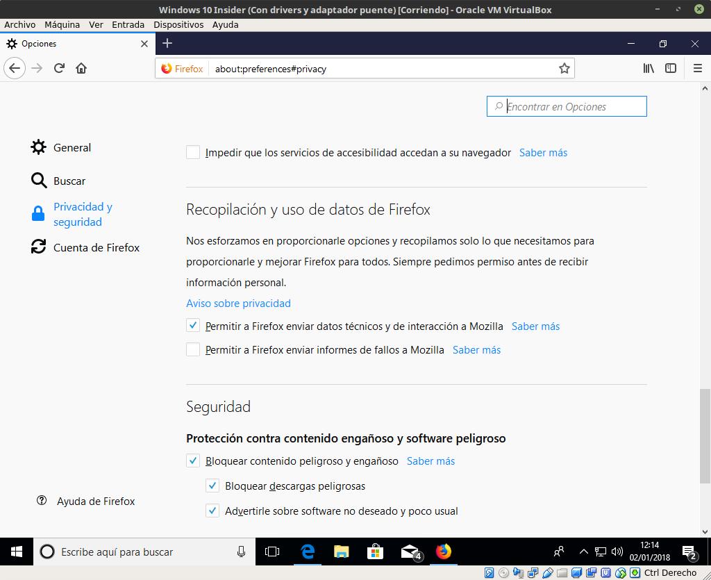 Preferencias de privacidad de Firefox