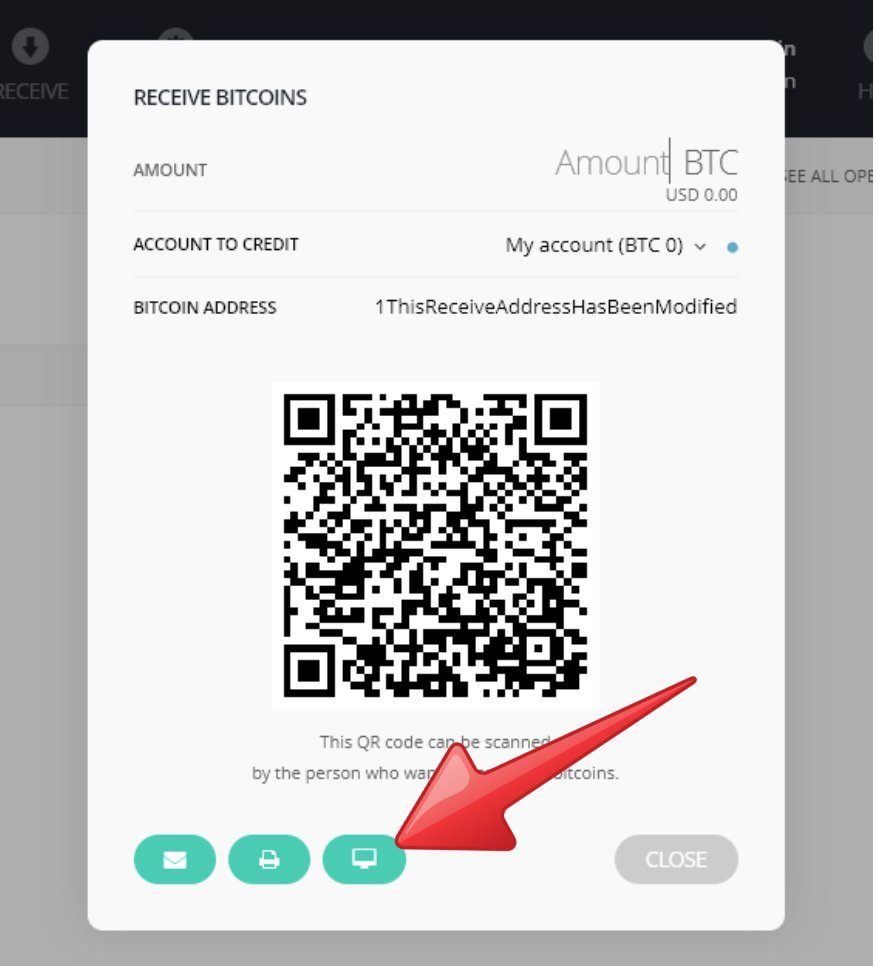 Comprobación en Ledger de una direccion de Bitcoin mediante un código QR