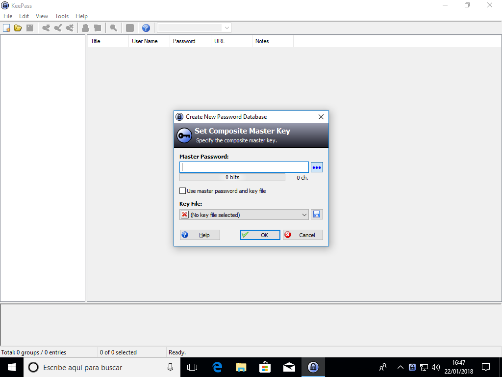 KeePass en Windows 10