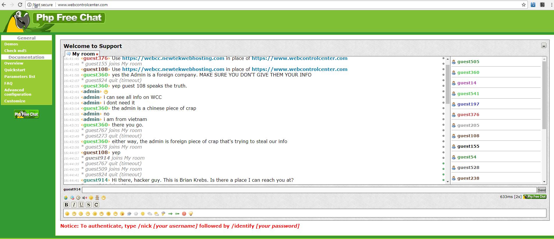 Chat colocado en los dominios secuestrados a Newtek