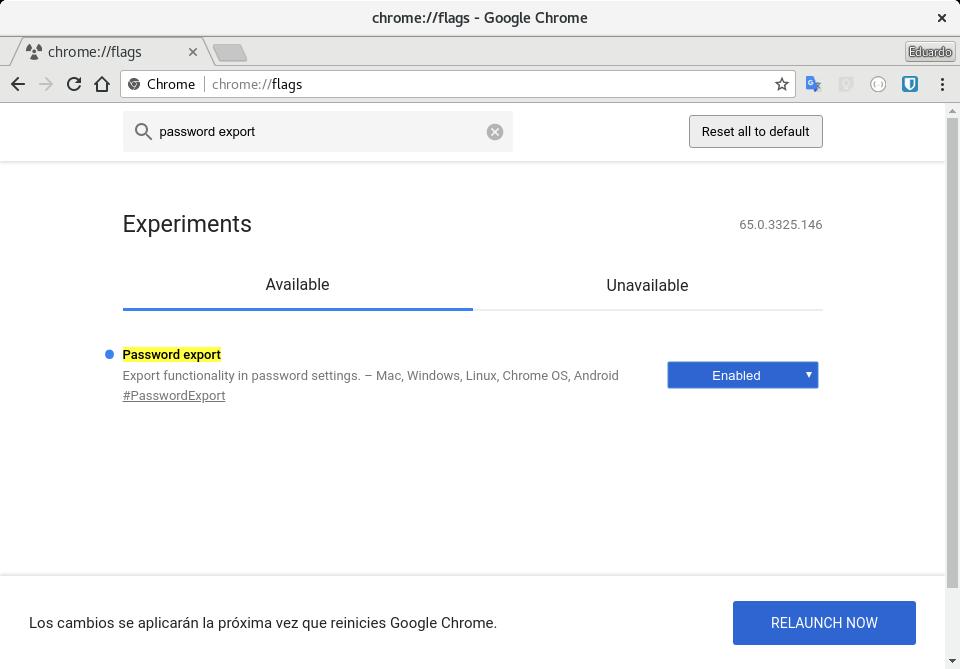 Habilitar la exportación de contraseñas en Chrome