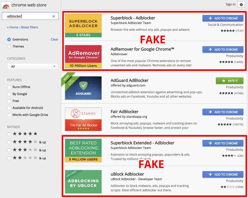 Bloqueadores de publicidad maliciosos encontrados en la Chrome Web Store