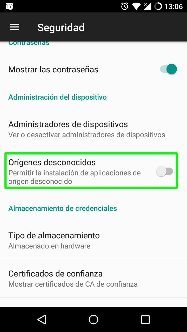 Orígenes desconocidos inhabilitado en Android