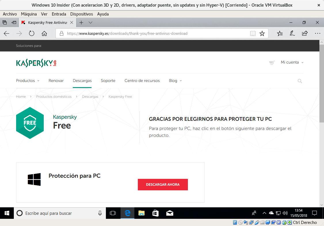 descargar antivirus gratis para windows 10 kaspersky