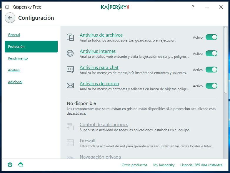 Configuración Kaspersky Free Antivirus