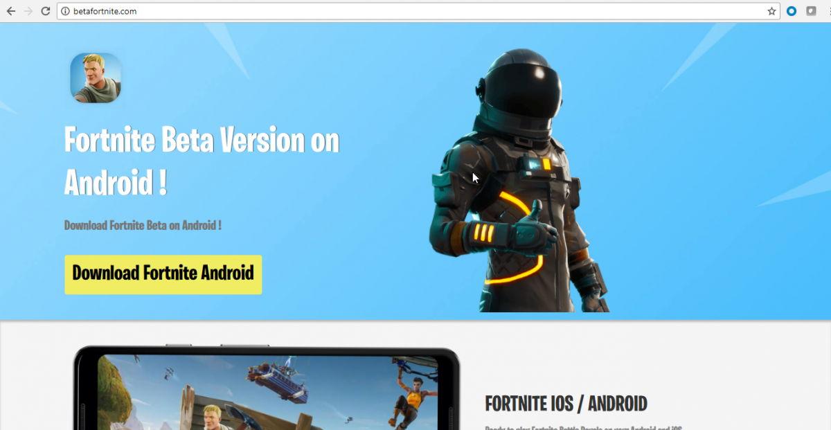 Dominio del APK de la aplicación falsa de Fortnite para Android