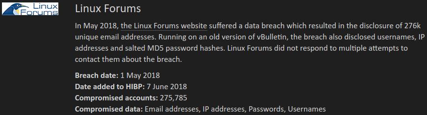 Mensaje en haveibeenpwned.com diciendo que Linux Forums ha sido hackeado