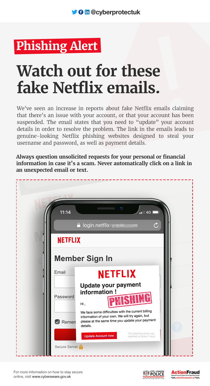 Alerta de phishing contra los usuarios de Netflix