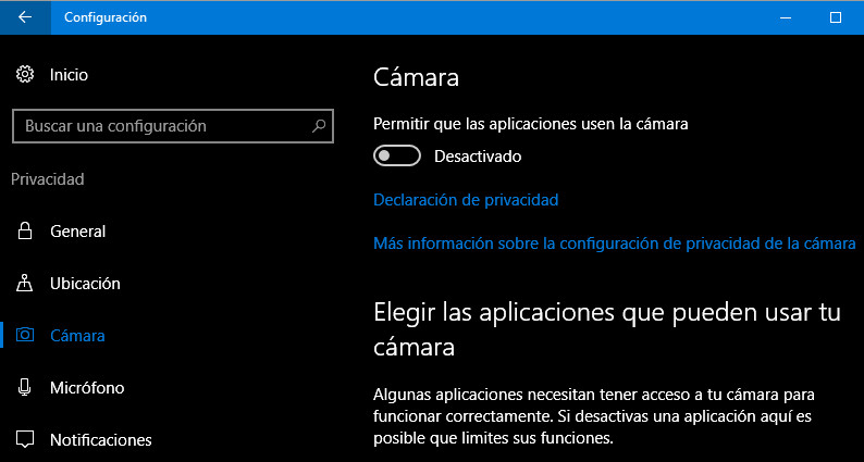 desactivar la webcam