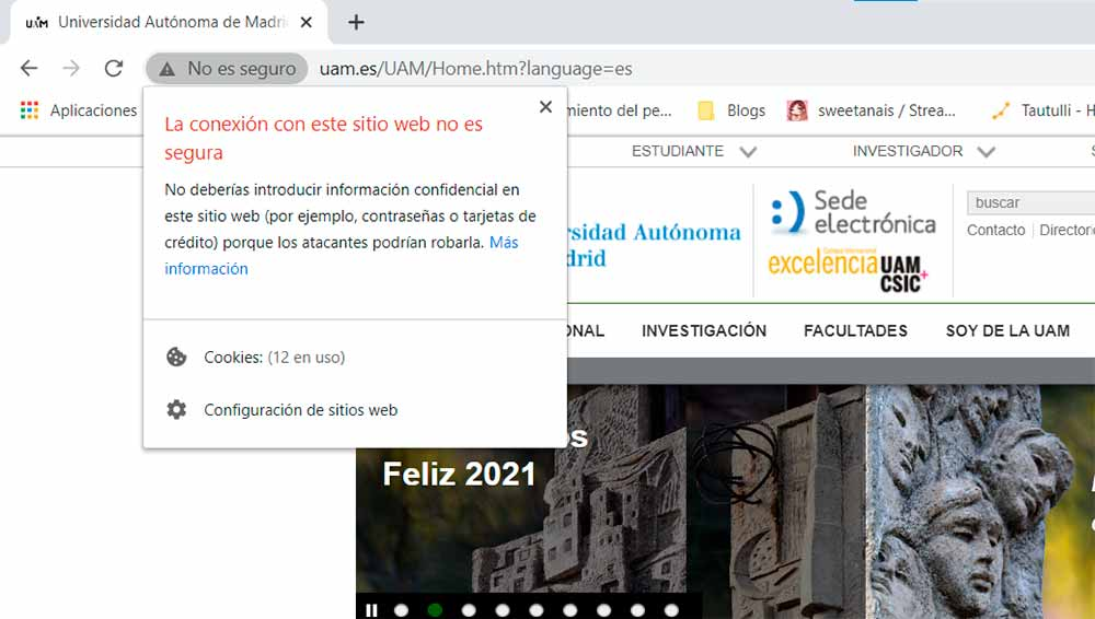 Aviso de Google Chrome al conectarnos a páginas web mediante HTTP