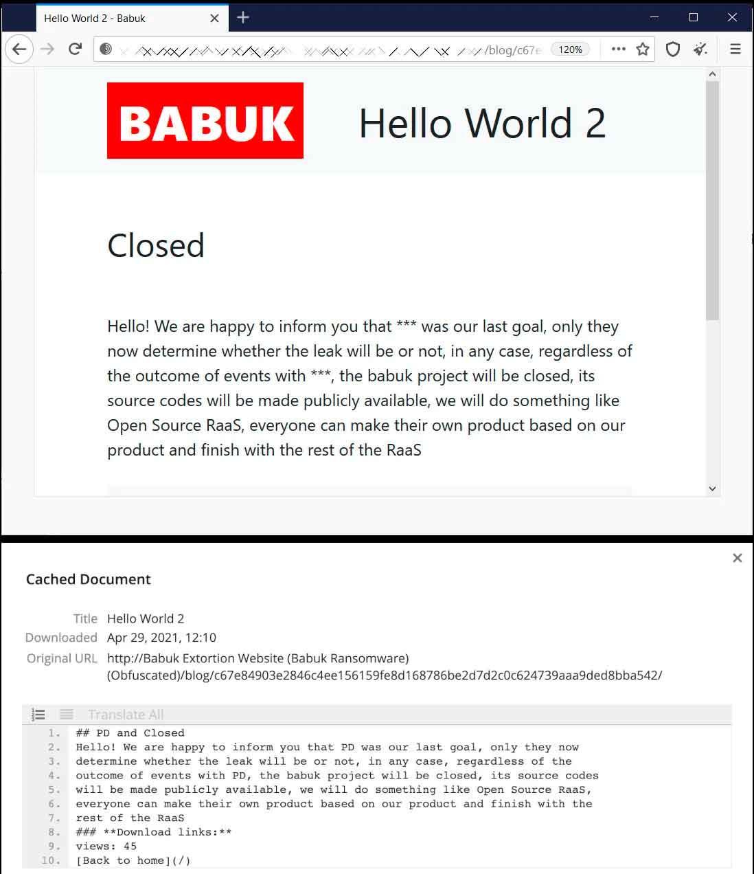 Babuk: ¿Despedida y cierre?